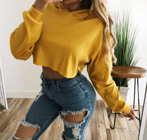S-XL Women's Hoodie Sweatshirt Jumper Sweater Crop Coat Tops