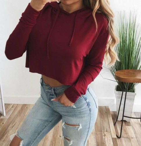 S-XL Hoodie Sweatshirt Jumper Sweater Crop Coat Tops