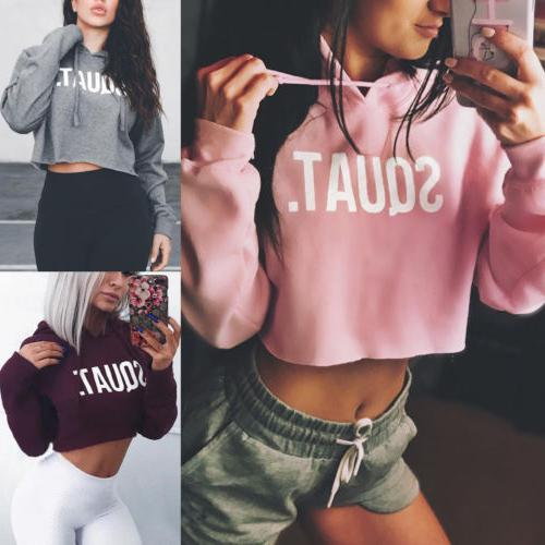 Sexy Women Hoodie Jumper top Coat Sports Pullover Tops
