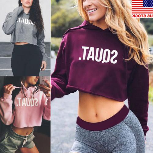 sexy women hoodie sweatshirt jumper sweater crop