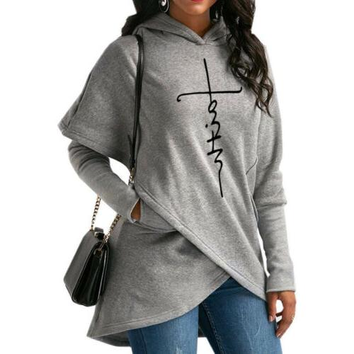 US Ladies Women's Hoodie Sweatshirt Print Sleeve Pullover Jumper