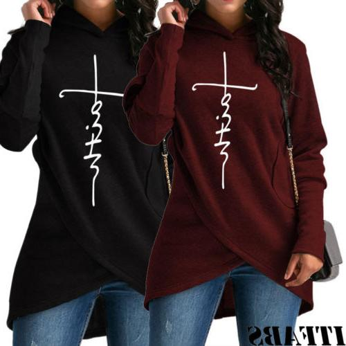 US Ladies Sweatshirt Faith Print Sleeve Pullover Jumper Tops