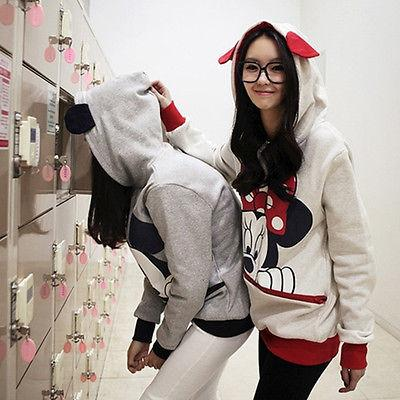 Women Mouse Hoodie Sleeve Pullover