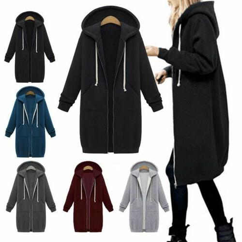 US Plus Size Women Long Sleeve Zip Up Hooded Hoodie Jacket J