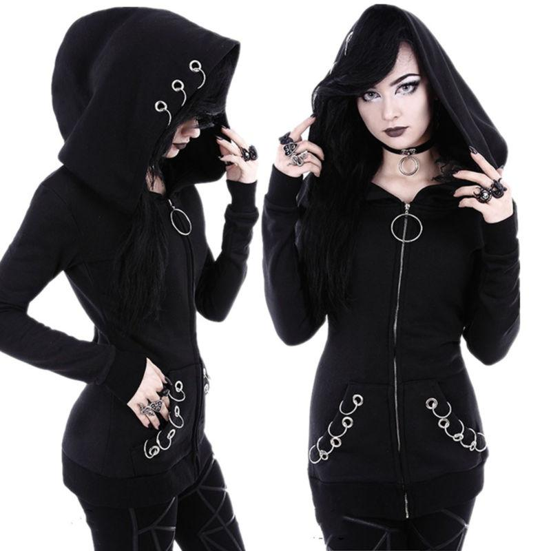 Plus Size Women Gothic Long Sleeve Hooded Hoodie Winter Coat