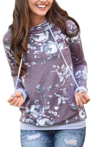 Angashion Women Hoodies-Tops- Floral Printed Long Sleeve Poc