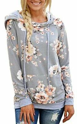 Angashion Women Hoodies-Tops- Floral Printed Long Sleeve Med