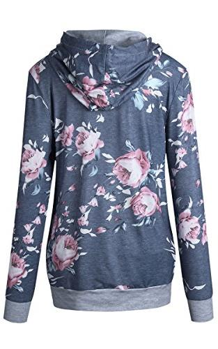 Angashion Women Hoodies-Tops- Floral Printed Sleeve Drawstring 6/Tag M