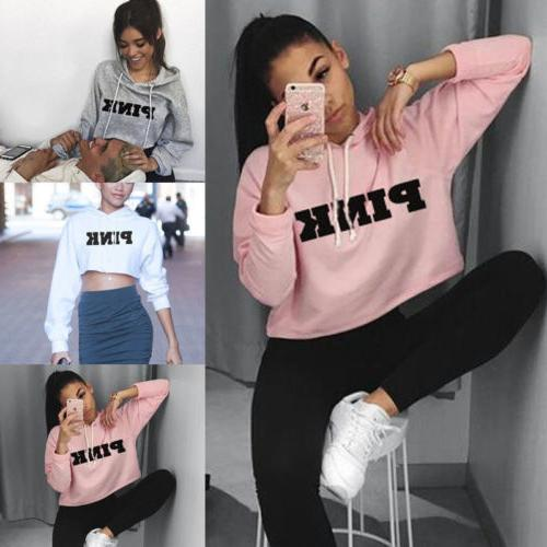 Women Hoodie Sweatshirt Long Sleeve Jumper Pullover Casual D