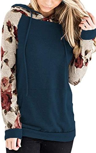 women s floral printed long sleeve pullover
