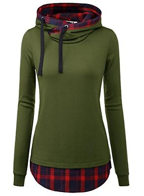 DJT Women's Funnel Neck Check Contrast Pullover Hoodie Top M