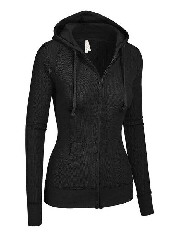 Women's Hoodie Thermal Waffle Knit Up Jacket Pockets