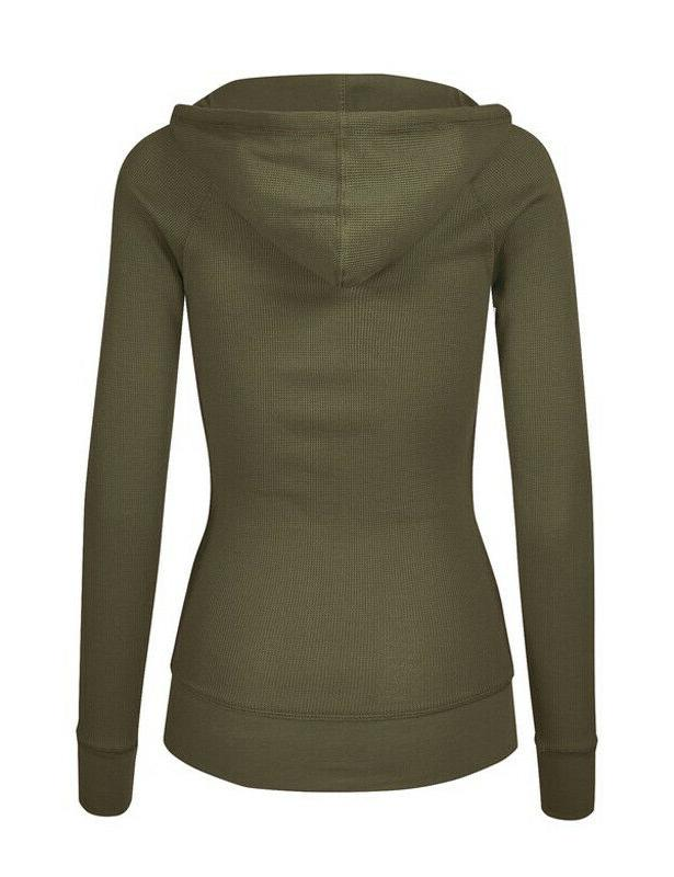 Women's Hoodie Long Thermal Waffle Zip Up