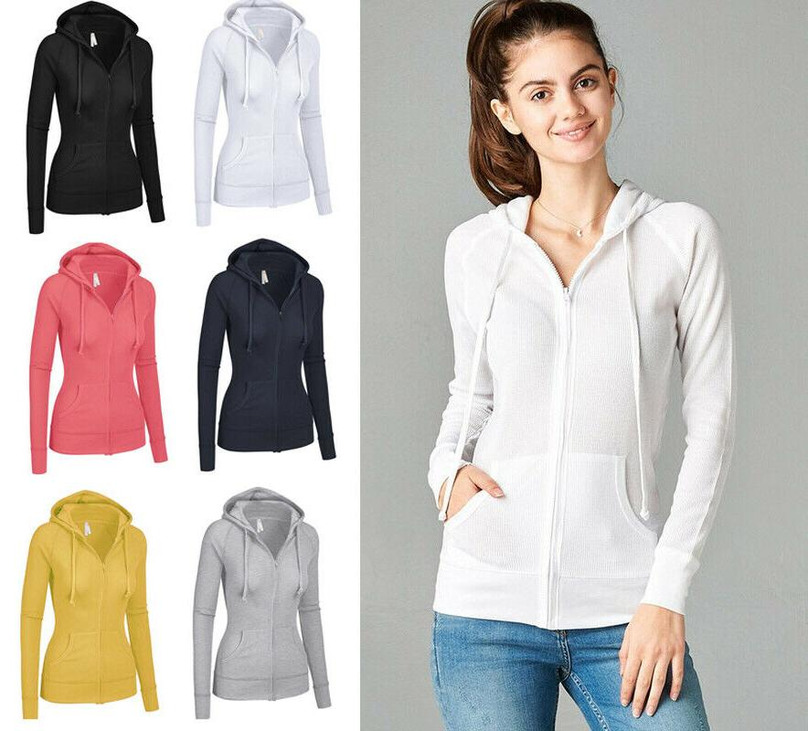 women s hoodie long sleeve thermal waffle