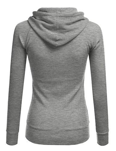 NINEXIS Long Casual Lightweight Hooded Thermal Zip-Up