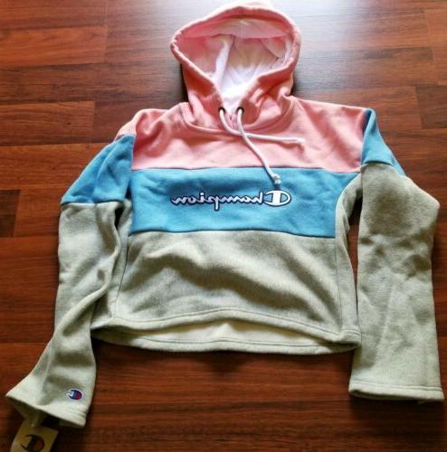 Champion Women's Reverse Cropped Pink Blue New NWT