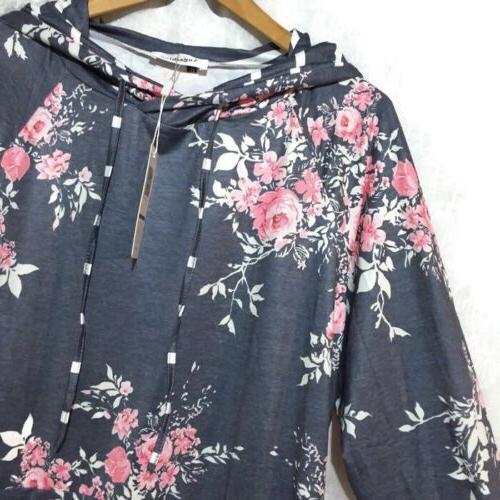 Angashion Women's XL Blue Floral Striped Hoodie Hooded Pocke
