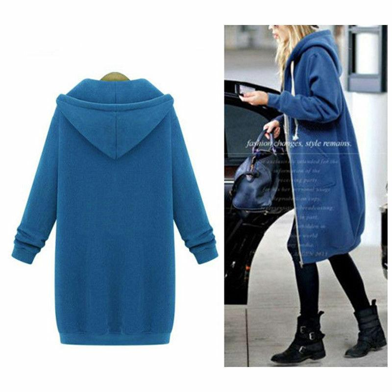 Women Winter Sweater Hooded Long Sweatshirt Coat