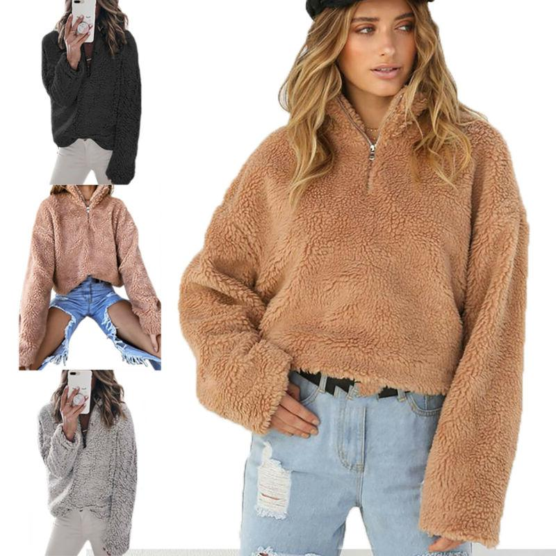 Plus Size Warm Teddy Bear Fluffy Sweater Coat Jacket Top