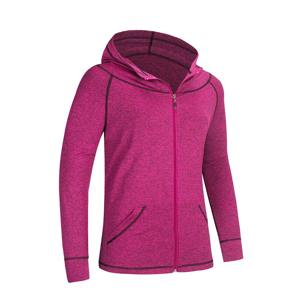 Womens Hoodies  for Gym Yoga Sport Jacket with Zipper Black