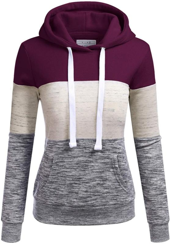 Doublju Basic Lightweight Pullover Hoodie Sweatshirt for Wom