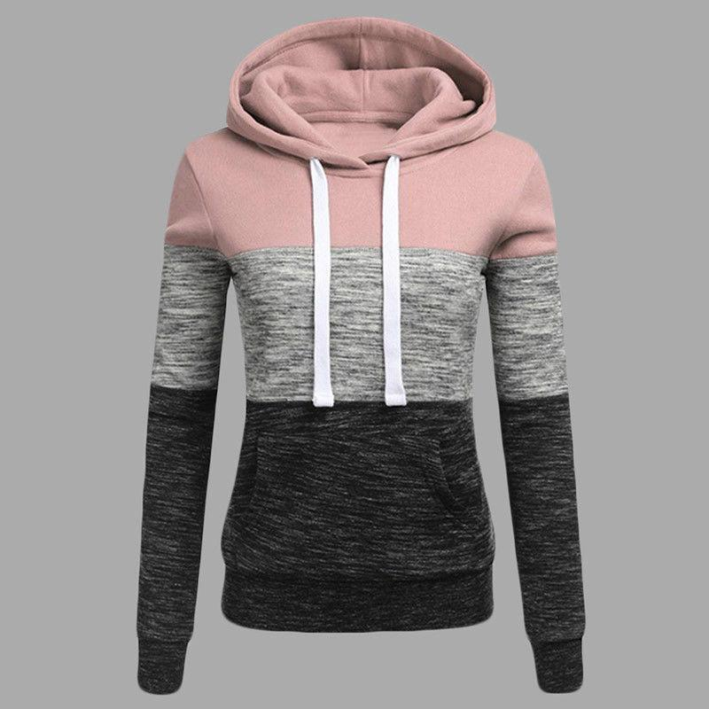 Womens Sleeve Sweatshirt Pocket Hooded Jumper Sweater Pullover Tops