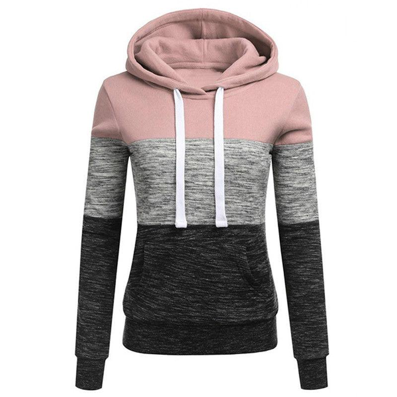 Women Patchwork Hooded Sleeve Hoodie Pullover Jumper Sweater Top