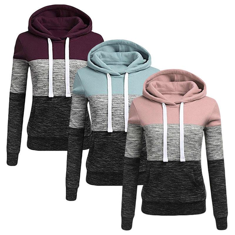 women patchwork hooded long sleeve sweatshirt hoodie