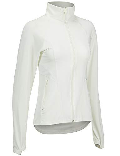 Regna Women's Full Zip Up Seamed Athletic Gym Jacket White S
