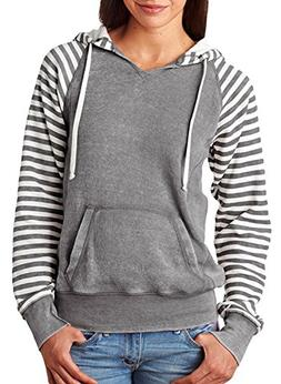 Mv Sport Ladies' Angel Sanded Piper Striped Hooded Pullover,