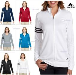 Adidas Ladies Mock Collar Polyester 3 Stripes Full Zip Pullo