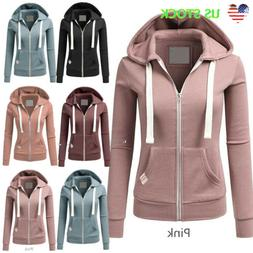 Ladies Plain Zip Up Fleece Hoody Women Sports Sweatshirt Coa