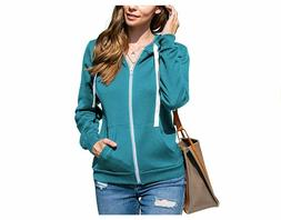 Doublju Lightweight Thin Zip-Up Hoodie Jacket for Women Turq