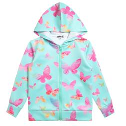 Little Girls Sweatshirts Zip Up Jackets Unicorn Hoodie