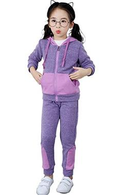 Ancia Little Girls Full-Zip Hooded Sweatshirt Sweatpants Set