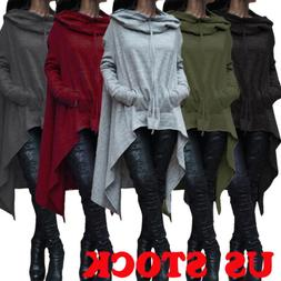 Long Hoodie Fleece Loose Tunic Top Womens Pullover Hooded Sw