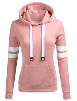 NINEXIS Womens Long Sleeve Arm Double Line Pullover Hoodie S
