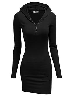Doublju Womens Long Sleeve Henley Neck Basic Hoodie Dress BL