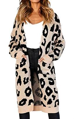 Angashion Women's Long Sleeves Leopard Print Knitting Cardig