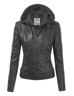 Made By Johnny MBJ Womens Faux Leather Jacket with Hoodie