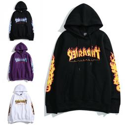 Men's and women's pullover hoodie Thrasher flame sweatshirt
