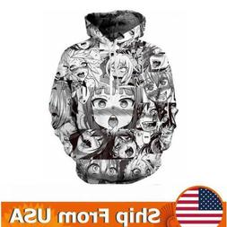 Men Women Fashion Anime Ahegao  3D Print  Pullover Cool Hood