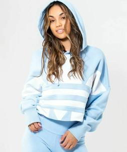 NEW ADIDAS ORIGINALS WOMEN'S CROPPED TREFOIL HOODIE  ~SIZE M