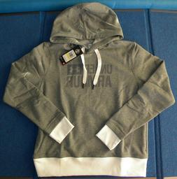 NEW Under Armour Threadborne Gray & White Fleece Hoodie Wome