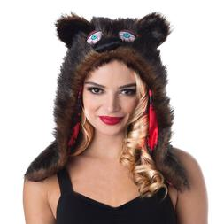 NEW! Woman Bear Hoodie Plush Fur Halloween Costume Accessory