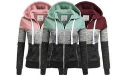 NEW Doublju Women's Color-Block Zip-Up Hoodie - Dusty Blue -