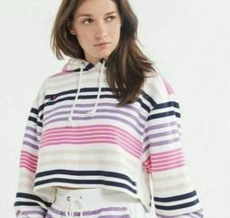 NEW Womens Champion Reverse Weave Striped Cropped Hoodie Hoo