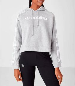NWT Women's adidas Originals Striped Cropped Hoodie