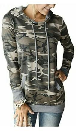NWT Angashion Women's Camo Hoodies Top Long Sleeve Pocket
