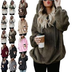 Plus Size Women Fleece Hoodie Sweatshirt Jumper Warm Sweater